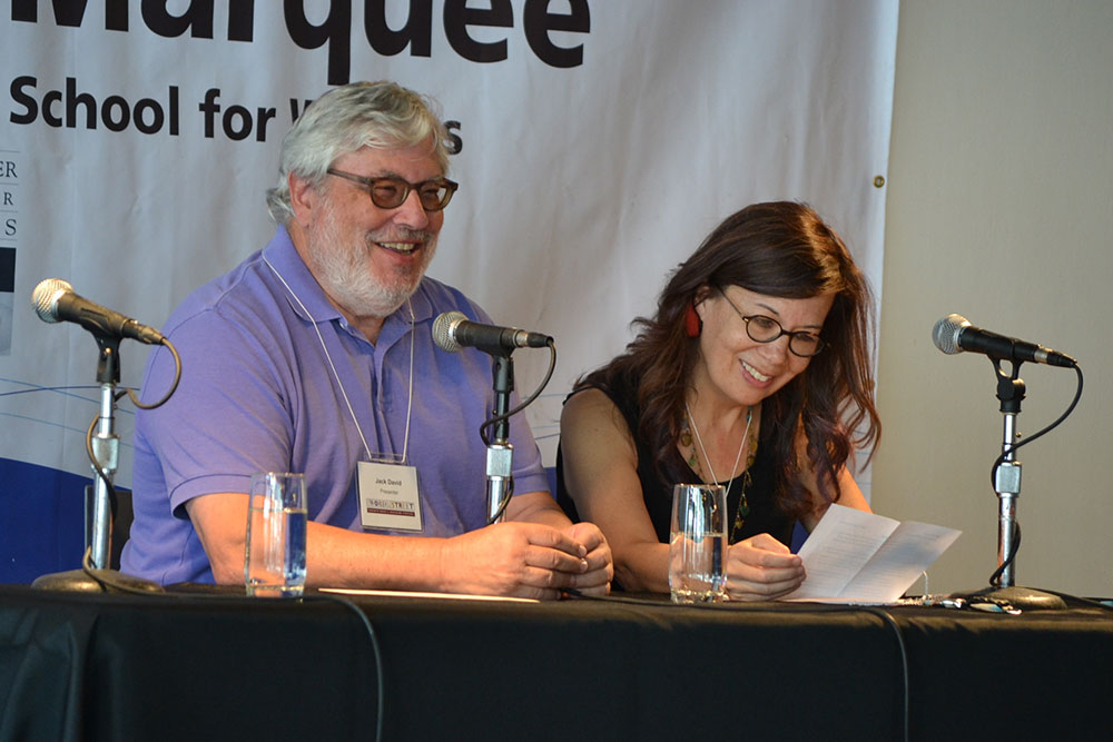 Jack David and Kim Moritsugu at the Wordshop Marquee. Photo Cr. Justin Lauzon