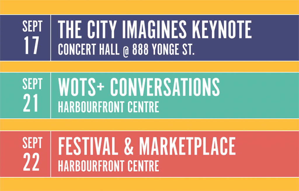 Three banners displaying the dates and venues of the City Imagines keynote speech, the WOTS Plus Conversations, and the Festival and Marketplace.